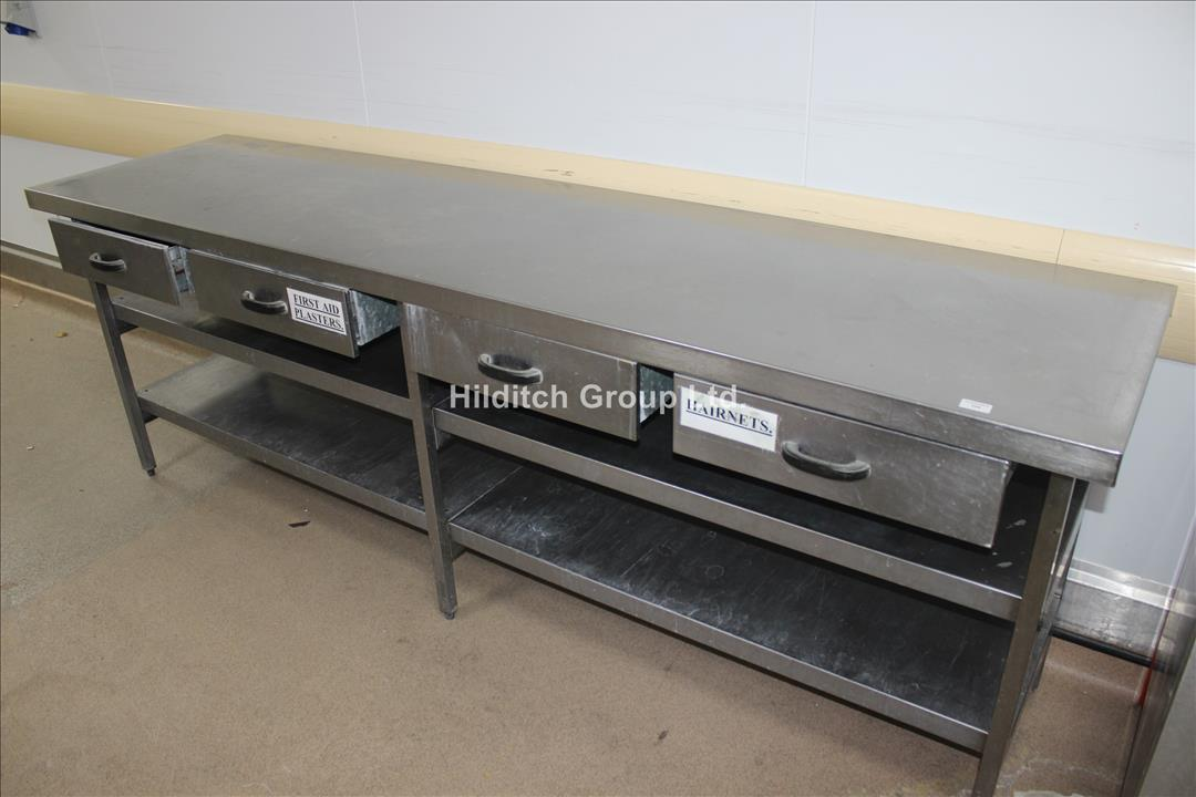 Stainless Steel Table with 4 x Drawers and Under Shelf - 244cm x 61cm