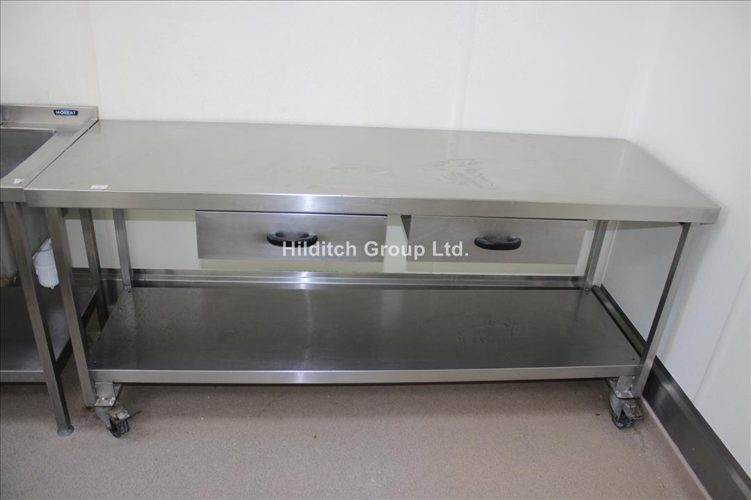 Stainless Steel Mobile Table with 2 x Drawers and Under Shelf