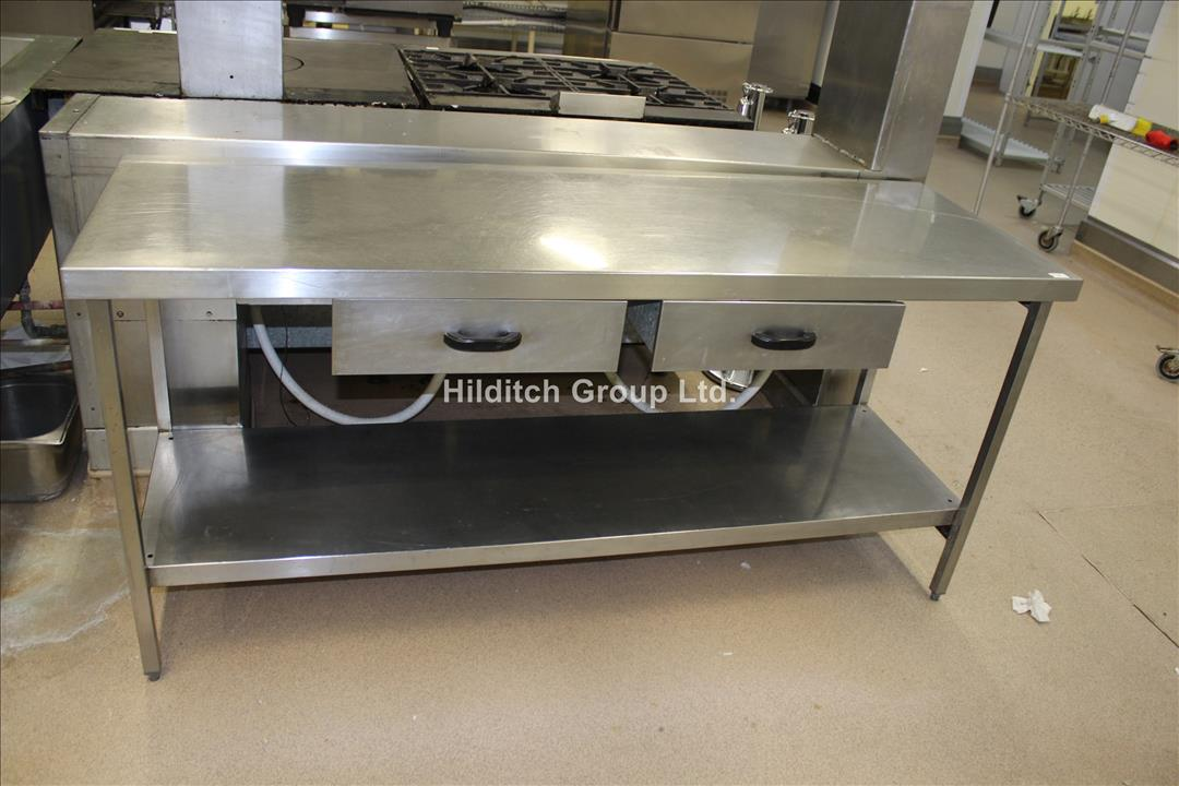 Stainless Steel Table with 2 x Drawers and Under Shelf - 183cm x 61cm