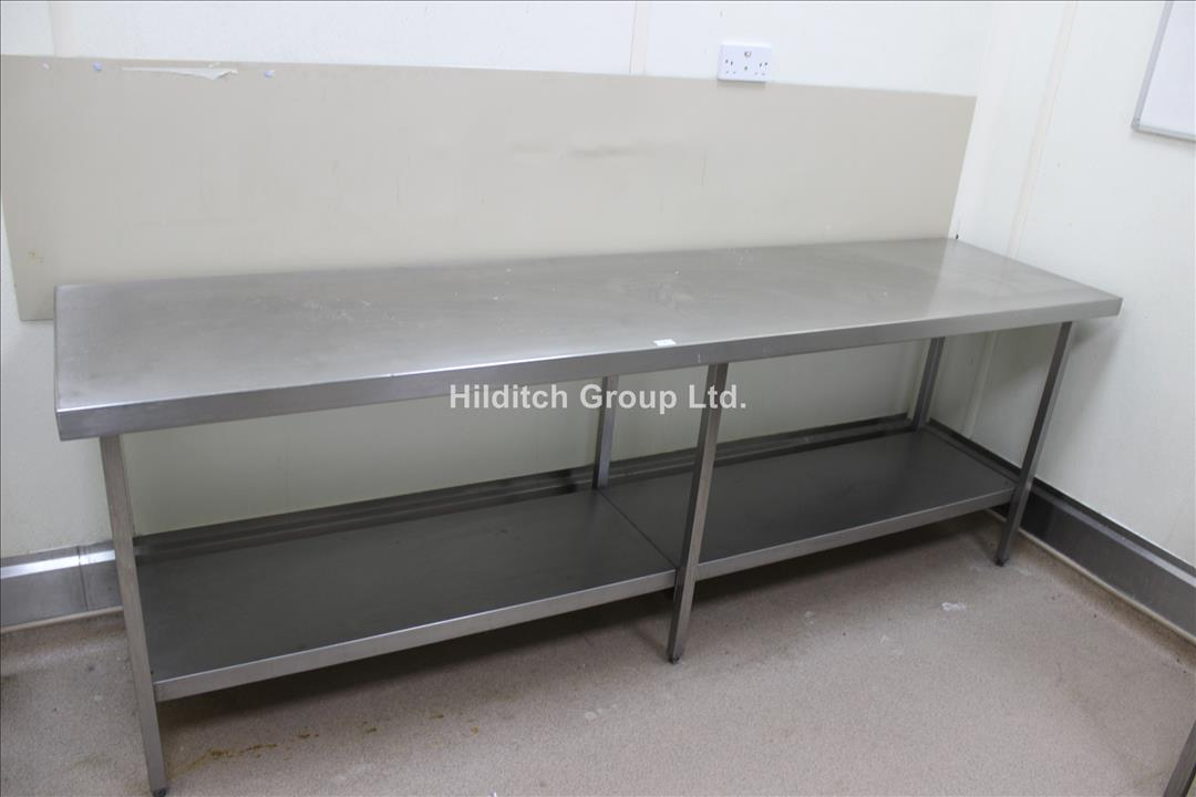 Stainless Steel Table with Under Shelf - 244cm x 61cm