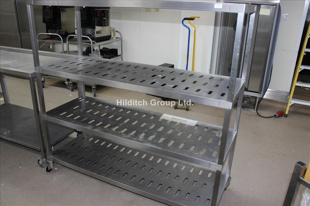 Stainless Steel Mobile 4 Tier Rack - 150cm x 54cm
