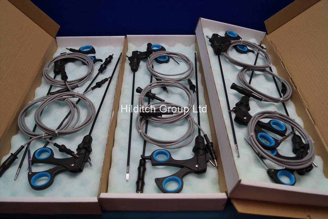 9 x Laparoscopic Instruments with Diathermy Cables - New